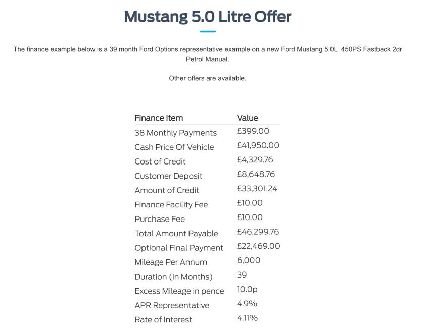 Mustang 5.0 Litre Offer